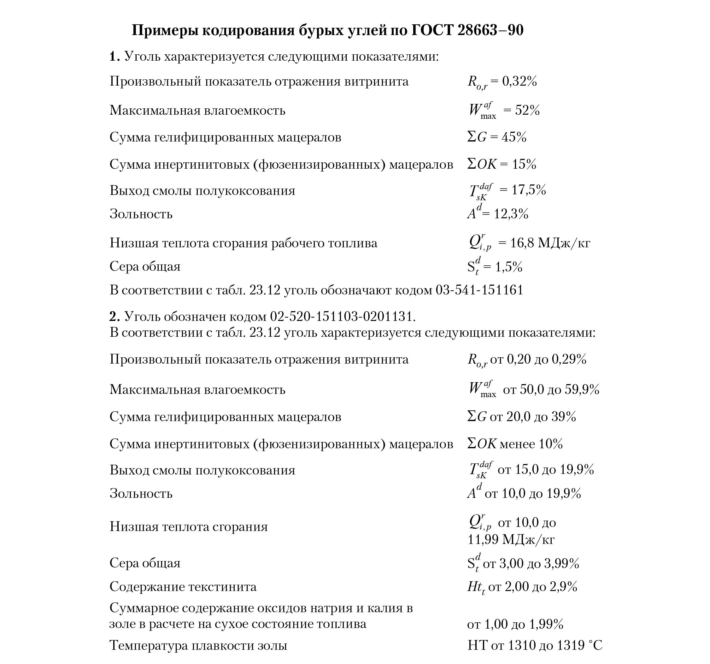 Пример кодирования бурых углей